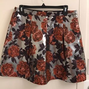 J Crew metallic floral skirt (with pockets)